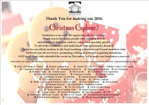 Thank you for making our 2016 Christmas Cupboard a success!