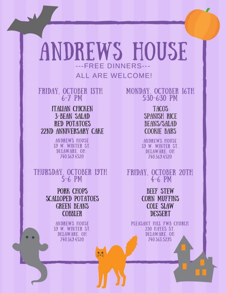 Violet Illustrated Halloween Menu